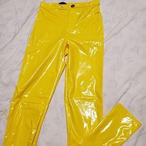 Yellow shiny pants